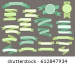 set of green vintage ribbons... | Shutterstock .eps vector #612847934