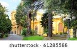 Cityscape of Montekattini, little city-health resort of mineral water. Italy - stock photo