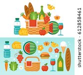 summer picnic concept with... | Shutterstock .eps vector #612858461