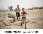 muscular male and female...   Shutterstock . vector #612870785
