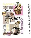 hand drawn doodle dessert  ... | Shutterstock .eps vector #612874025