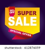 super sale vector banner.  50... | Shutterstock .eps vector #612876059