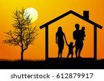 family house silhouette vector   Shutterstock .eps vector #612879917
