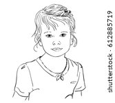 face of small girl  hand drawn... | Shutterstock .eps vector #612885719