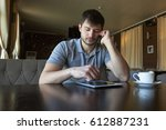 young male blogger working on... | Shutterstock . vector #612887231