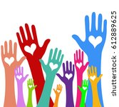 hands and heart donation donor...   Shutterstock .eps vector #612889625