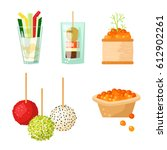 various meat canape snacks... | Shutterstock .eps vector #612902261