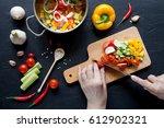cooking vegetables. vegan... | Shutterstock . vector #612902321