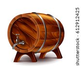 wine barrel isolated on white... | Shutterstock .eps vector #612912425