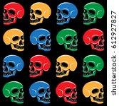 pop art fun skull  | Shutterstock .eps vector #612927827