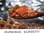 goulash cooking outdoors ... | Shutterstock . vector #612935777