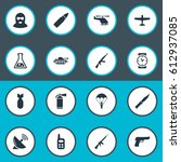 set of 16 simple battle icons.... | Shutterstock . vector #612937085