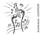 headphones doodle sketch style  ... | Shutterstock . vector #612939335