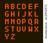 english alphabet in pixel style ... | Shutterstock .eps vector #612943571