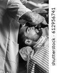 professional master hairdresser ... | Shutterstock . vector #612956741