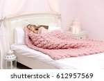 young woman sleeping in bed... | Shutterstock . vector #612957569