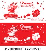 seasonal card with small cute... | Shutterstock .eps vector #612959969