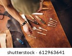 handmade leather  like the old... | Shutterstock . vector #612963641