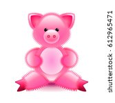 cute pink pig soft toy isolated ... | Shutterstock .eps vector #612965471