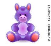 cute purple horse soft toy... | Shutterstock .eps vector #612965495
