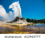 Castle Geyser erupts with hot water and steam with pools of thermophilic bacteria and it
