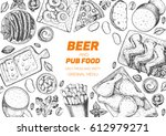 pub food frame vector... | Shutterstock .eps vector #612979271