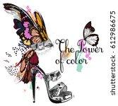 beautiful fashion illustration... | Shutterstock .eps vector #612986675