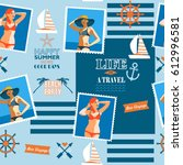 nautical collage vector pattern ... | Shutterstock .eps vector #612996581