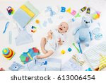 baby on white background with... | Shutterstock . vector #613006454