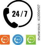 24 7 phone support icon  | Shutterstock .eps vector #613006937