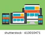 computer responsive design... | Shutterstock .eps vector #613010471