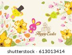 easter background with cute... | Shutterstock . vector #613013414