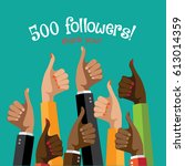thank you for following thumbs...   Shutterstock . vector #613014359