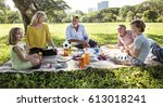 family picnic outdoors... | Shutterstock . vector #613018241