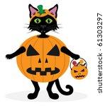 black cat dressed a halloween... | Shutterstock .eps vector #61303297