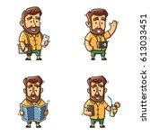 traveler man with beard wearing ... | Shutterstock .eps vector #613033451