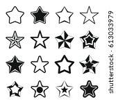 set flat black silhouette star...   Shutterstock .eps vector #613033979