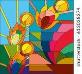 art deco vector colored...   Shutterstock .eps vector #613038374