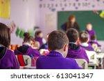 school children are... | Shutterstock . vector #613041347
