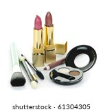 Cosmetic makeup kit with brushes isolated on white background - stock photo