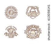 coffee badge food thin line... | Shutterstock .eps vector #613058141