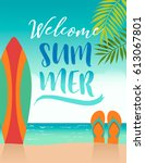 summer holidays illustration... | Shutterstock .eps vector #613067801