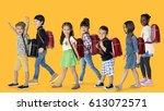group of children walking... | Shutterstock . vector #613072571