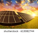 photovoltaic panels at sunset.... | Shutterstock . vector #613082744