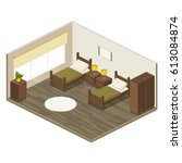 living room in hotel with... | Shutterstock .eps vector #613084874