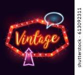 shining retro neon billboard.... | Shutterstock .eps vector #613092311