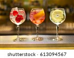 three colorful cocktails in...   Shutterstock . vector #613094567