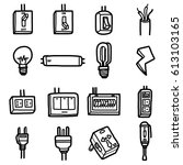 electrical objects  icons set   ...   Shutterstock .eps vector #613103165
