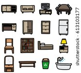 furniture objects  icons set  ... | Shutterstock .eps vector #613103177