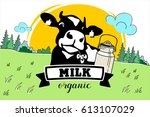 the cow in the meadow. vector... | Shutterstock .eps vector #613107029
